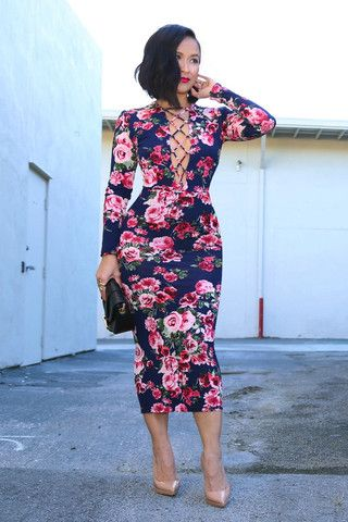 Lace Up Front Floral Bodycon Dress - KTRcollection