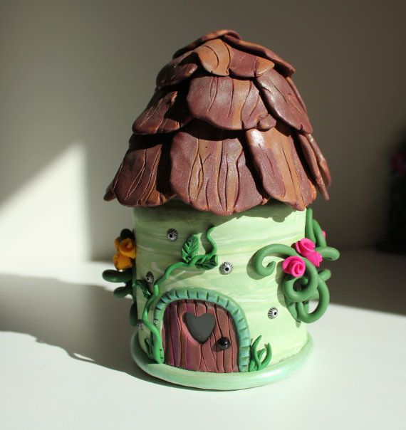 Fairy House T-Light Holder Glass Jam Jar with Polymer Clay, Green with Little Roses