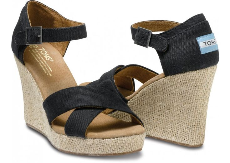 summer wedding circuit got your tootsies tore up? get your stilettos a rest and pick of a pair of sensible black strappy wedges!