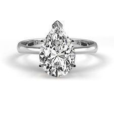 A Perfect 1.7CT Pear Cut Solitaire Russian Lab Diamond Promise Engagement Anniversary Wedding Ring