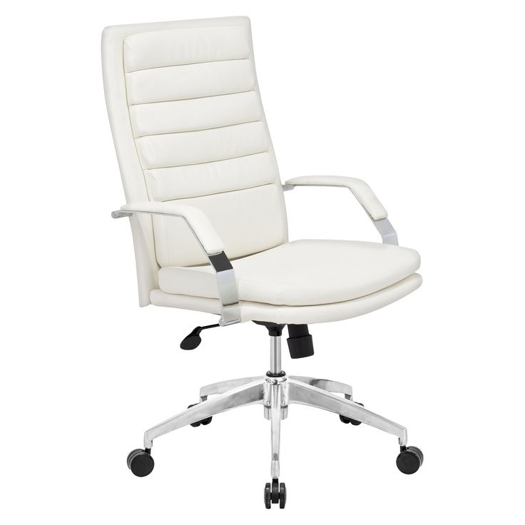 Modern Adjustable Chrome Steel and Faux Leather Office Chair - White - ZM Home