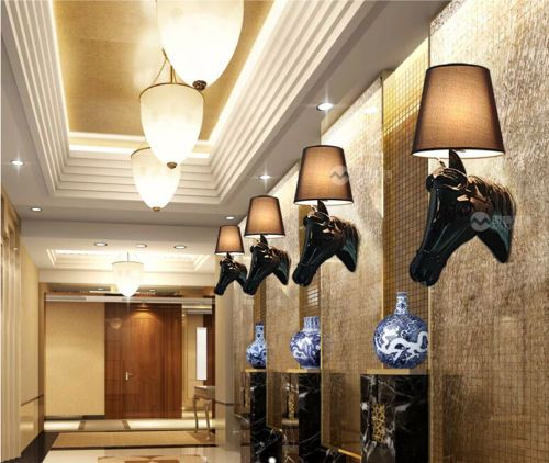 New-Modern-Black-White-Horse-Head-Wall-Lamp-House-bedroom-Lighting-light-H-50cm