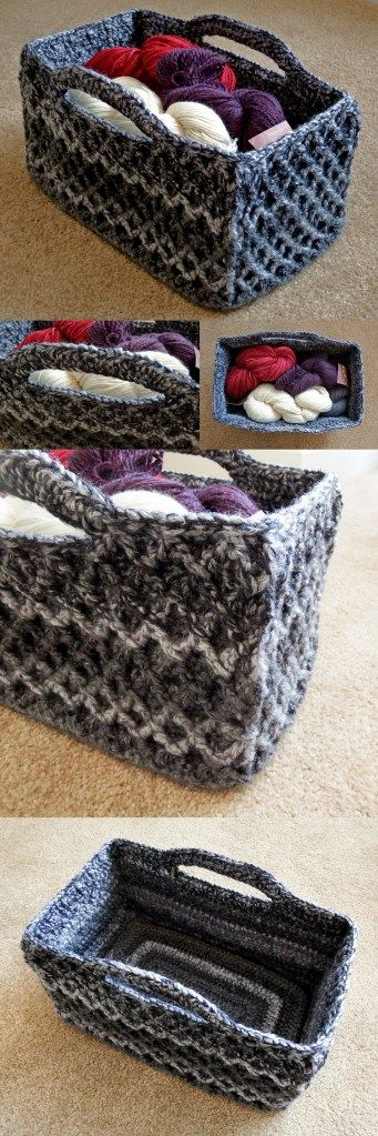 Check out this rectangle version of the Diamon Trellis Basket by @esthermchandler.  A great project for Wool-Ease Thick & Quick or another super bulky yarn.
