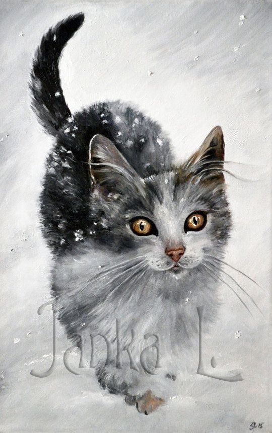 Original oil painting  Kitten in snow cat painting by JankaLart