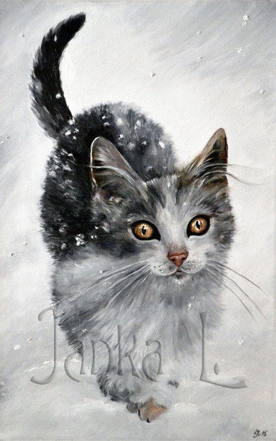 Original oil painting  Kitten in snow cat painting by JankaLart