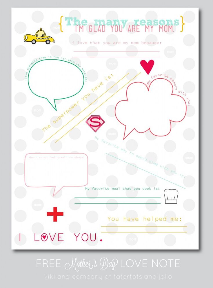 Mother's Day Love Note {free printable}