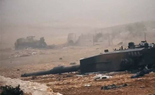 Operation Euphrates Shield, AKA the Turkish intervention in the Syrian civil War, destroyed Turkish Army Leopard 2A4 tanks, somewhere in North Aleppo.