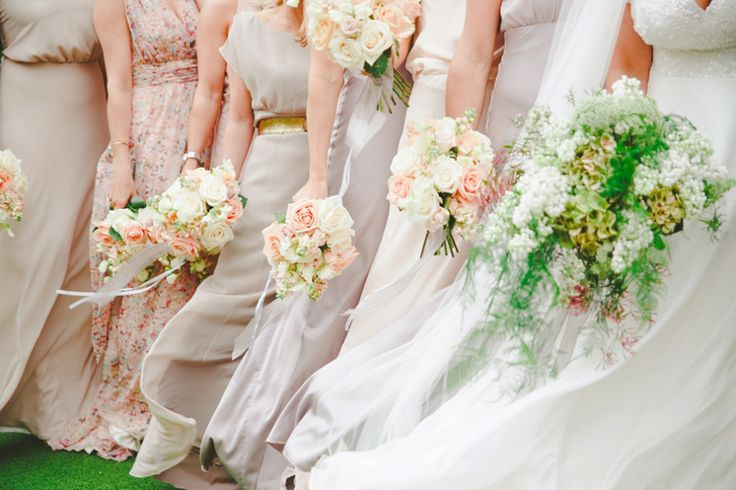 Feminine, floaty bridesmaids dresses and English garden bouquets.  13 Bridesmaids for a Laid Back and Glamorous British Backyard Wedding | Love My Dress® UK Wedding Blog  Photography by http://cgpgraham.com & http://www.lucydavenport.co.uk