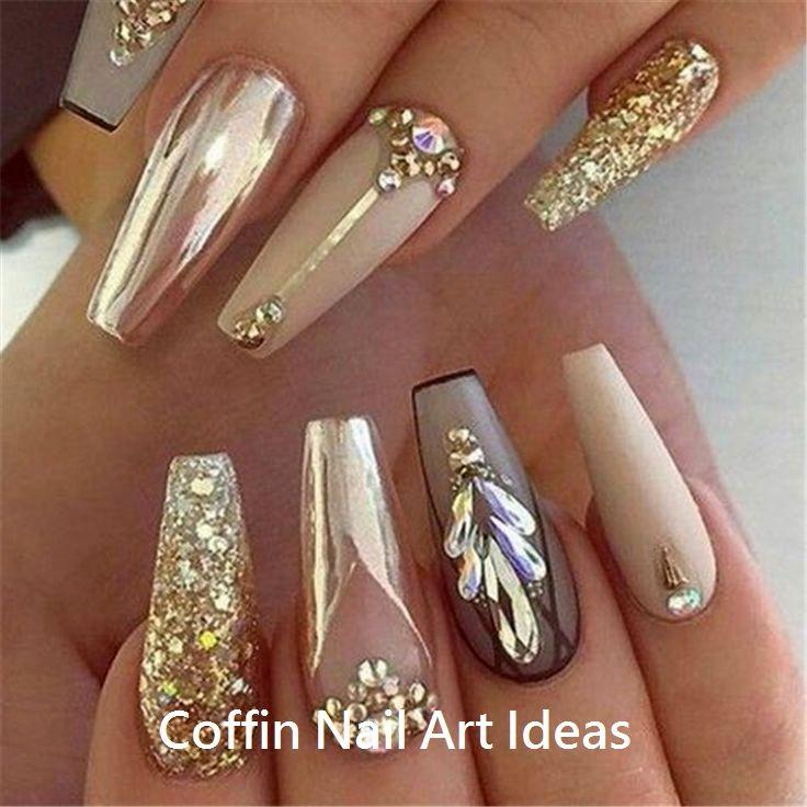 20 Trendy Coffin Nail Art Designs #nail