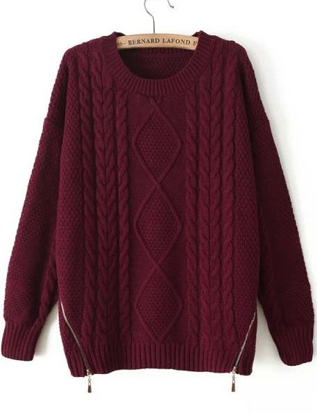 Shop Red Long Sleeve Zipper Cable Knit Sweater online. Sheinside offers Red Long Sleeve Zipper Cable Knit Sweater & more to fit your fashionable needs. Free Shipping Worldwide!