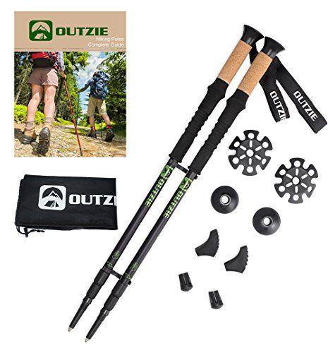 "Hiking Trekking Poles Ultralight 2-Pack | Compact Collapsible | High Performance Cork Grips | Shock-Absorbing | Adjustable to 53"" | Premium Walking Sticks Plus Free E-Book Bonus Tips And Carrying Bag."