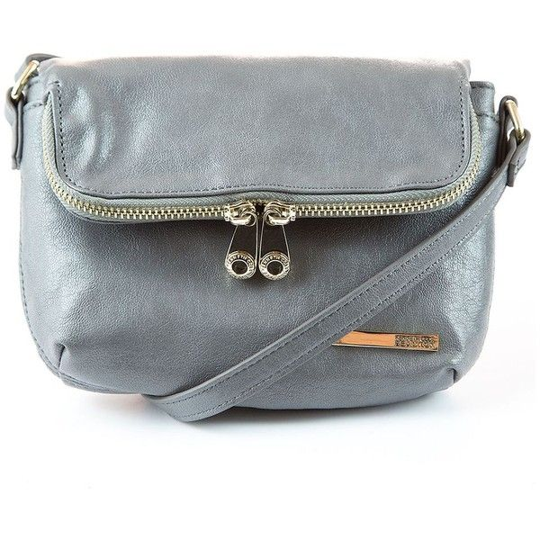Kenneth Cole Reaction Wooster Street Leather Foldover  Crossbody Bag ($29) ❤ liked on Polyvore featuring bags, handbags, shoulder bags, cool grey, grey leather handbags, grey leather purse, leather crossbody handbags, crossbody purse i gray leather purse