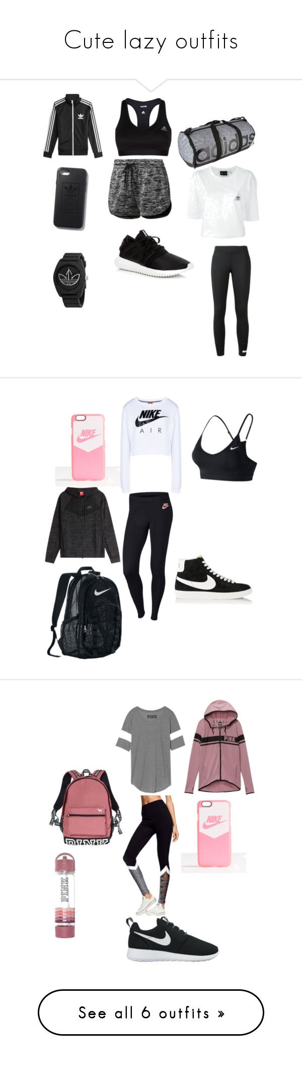 """Cute lazy outfits"" by jno712 ❤ liked on Polyvore featuring adidas, adidas Originals, NIKE, Victoria's Secret, Victoria's Secret PINK, Monrow, American Vintage, Levi's, MANGO and Puma"