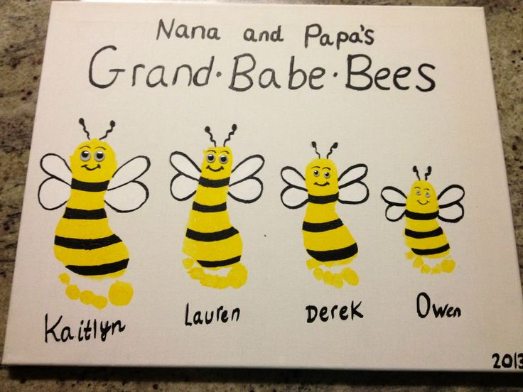 Bee Handprint Art Grand•Babe•Bees