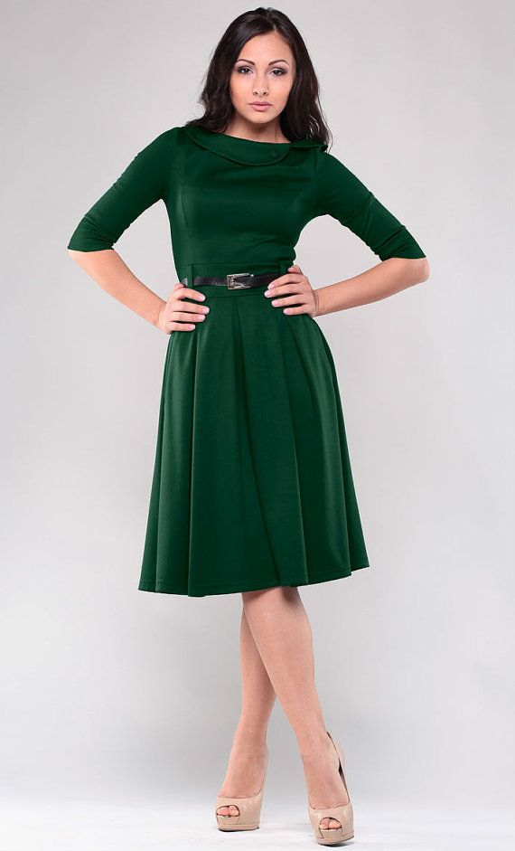 Dark green dress. Autumn  dress. Dress for women.  Jersey dress. Dress with  collar. Spring dress.
