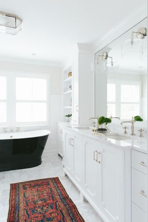 White And Black Bathroom Features A Long Single Washstand