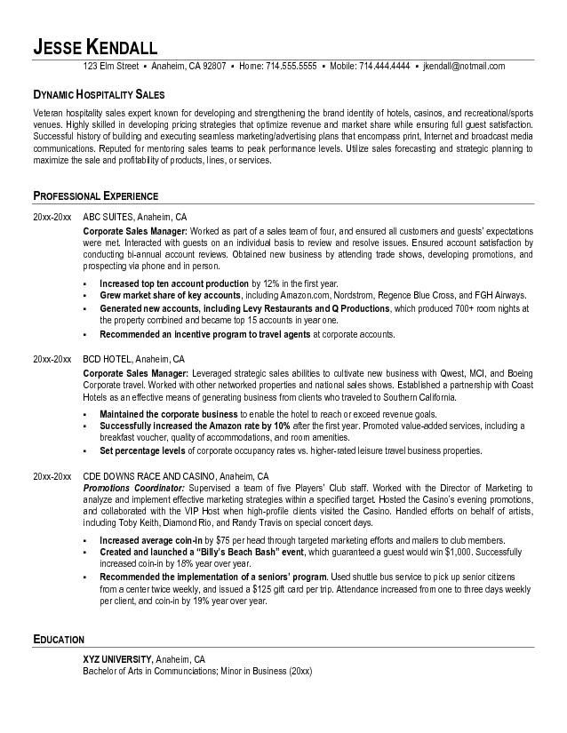 Hospitality Resume Objective Sample Job Resume Samples