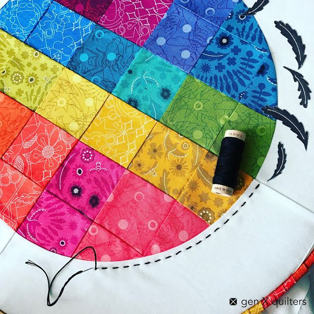 Big Stitching with Aurifloss on Pixelated Circle Hoop Quilt