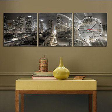 現代アートなモダン キャンバスアート 壁 壁掛け 時計 壁時計 ニューヨークの夜景【納期】お取り寄せ2~3週間前後で発送予定【fs04gm】ポイント【楽天市場】