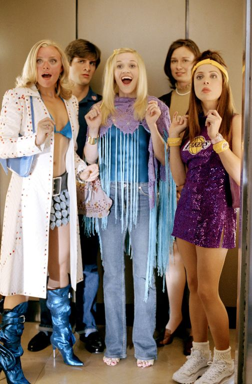 Margot (Jessica Cauffiel), Timothy McGinn (J Barton), Elle Woods (Reese Witherspoon), Reena Giuliani (Mary Lynn Rajskub), Serena McGuire (Alanna Ubach) ~ Legally Blonde 2: Red, White & Blonde (2003) ~ Movie Stills