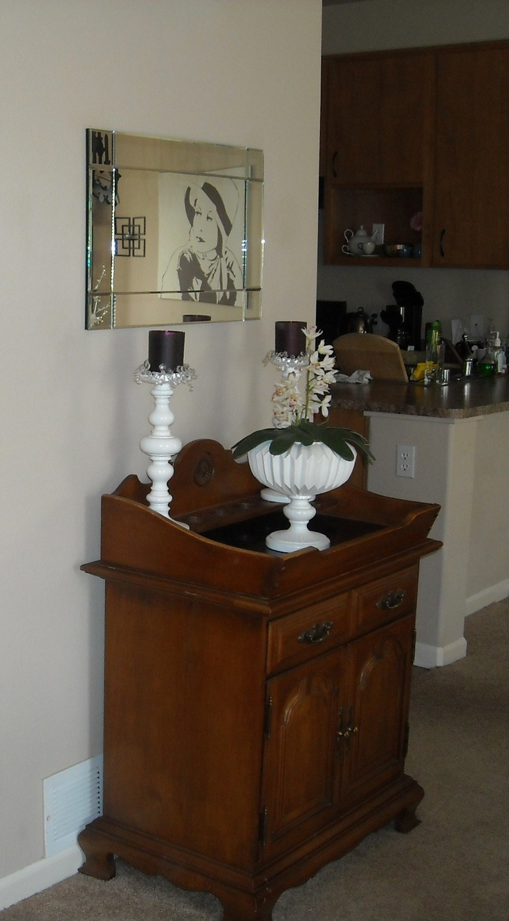 A Dry Sink Cabinet On The Side Wall Across From Couch Would Love To Make It Bar Serving Area