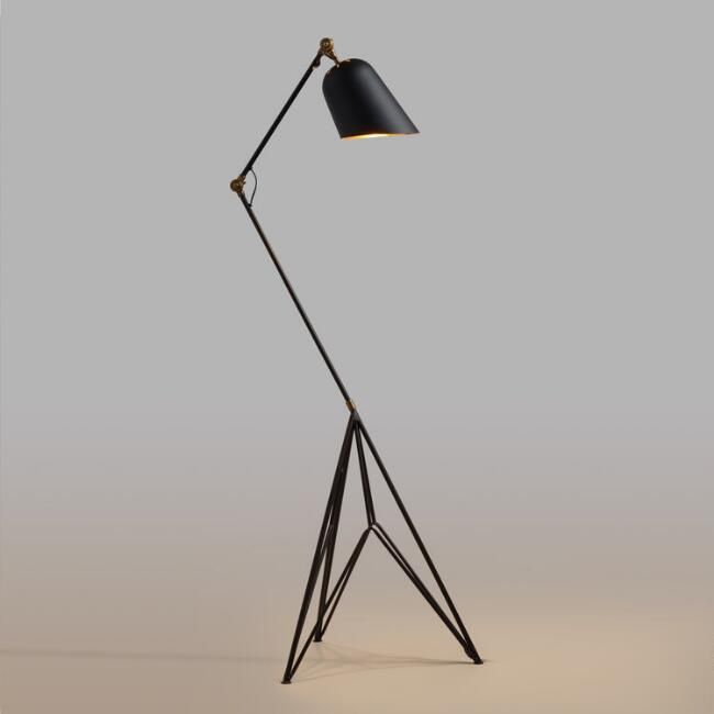 Matte Black and Gold Tripod Lewis Task Floor Lamp