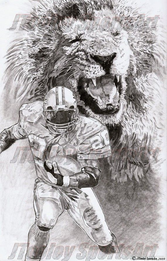 Detroit Lions Barry Sanders Poster Art
