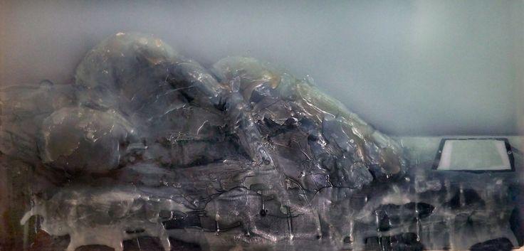 melting body, parrafin wax on plexi