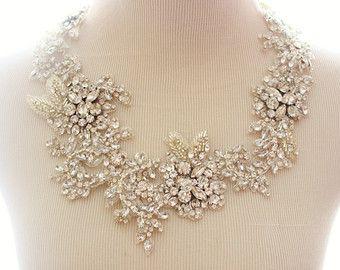 Bridal Crystal Rhinestone Lace Statement Necklace, Bridal Statement Necklace