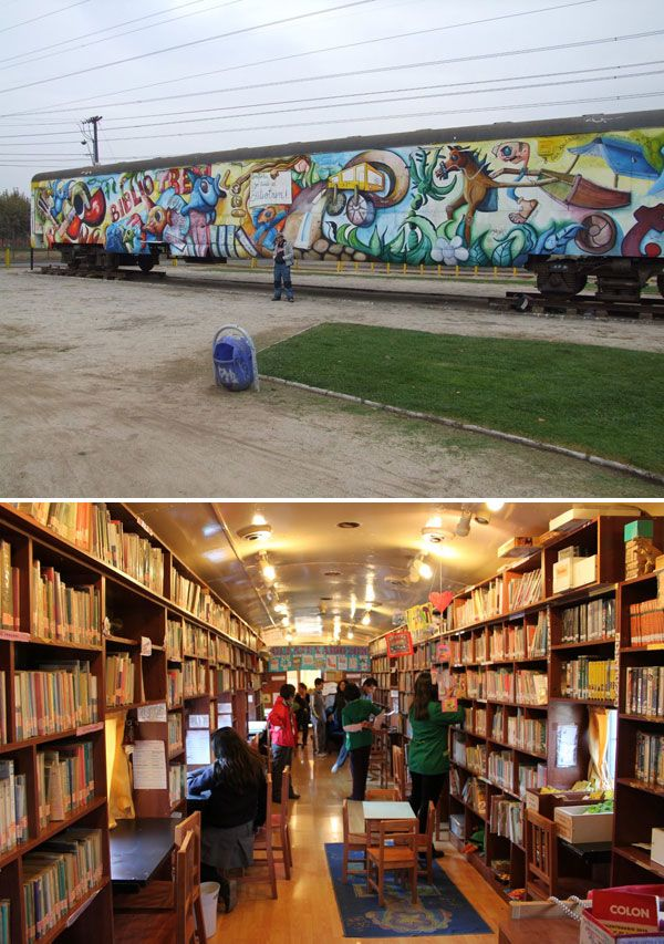 The Biblio Trenes in Chile: disused train cars that have been converted into cool libraries.