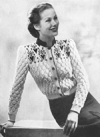Tyrolean Fair Isle Cardigan Sweater Vintage Knitting Pattern for download Bust 30-34