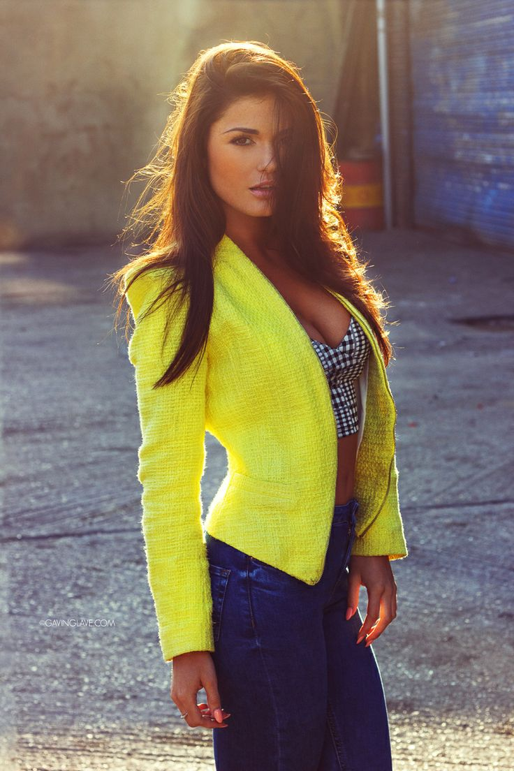Yellow jacket, jeans and bustier