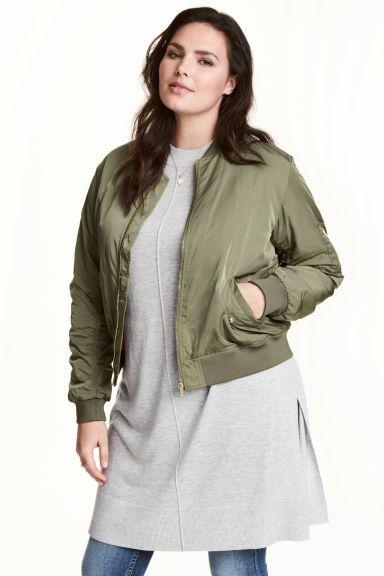 Padded bomber jacket - Khaki green - Ladies | H&M CA 1