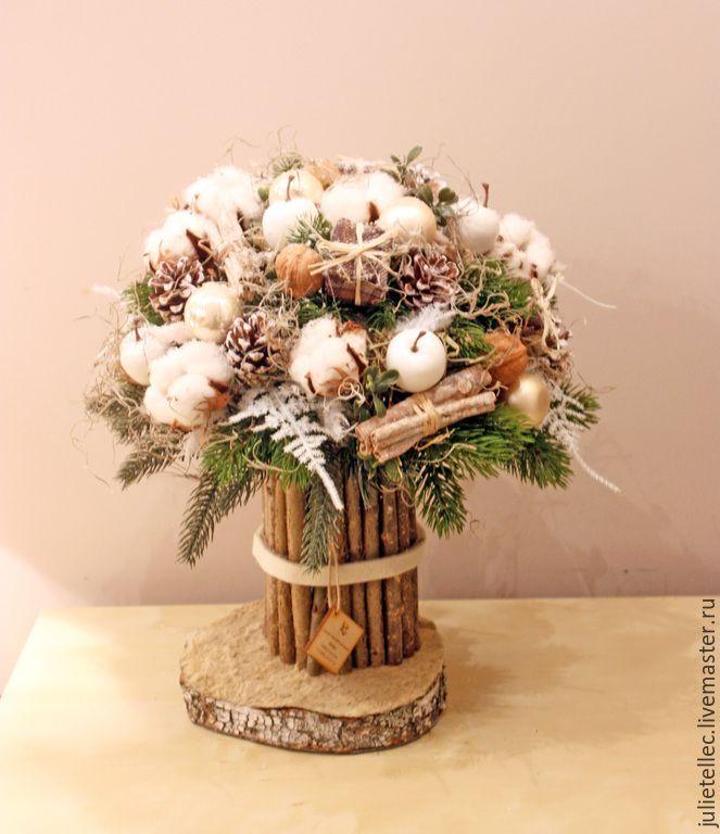 Купить Зимний бежевый букет - бежевый, зимний букет, европейская флористика, подарок, Новый Год