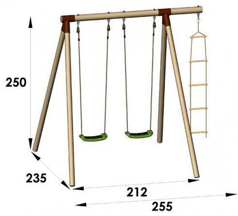Portique en bois Trigano 2,50 m. 3 enfants