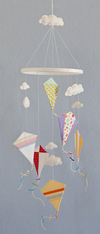 Kite Mobile - Baby Child Mobile - Custom - You Pick Fabric/Color. $95.00, via Etsy.