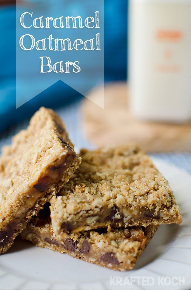 Caramel Oatmeal Bars - I wonder how these would taste without the walnuts.....