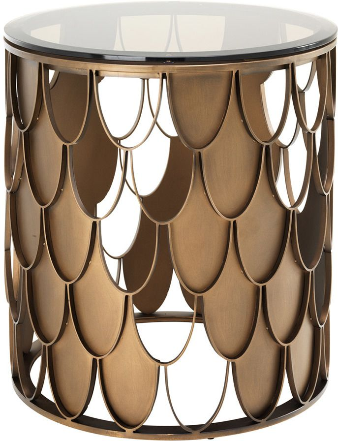 Chic and Stylish #Statement #Gold #Side #Table with fishscale design for an #ArtDeco Inspired #livingroom | #Ad