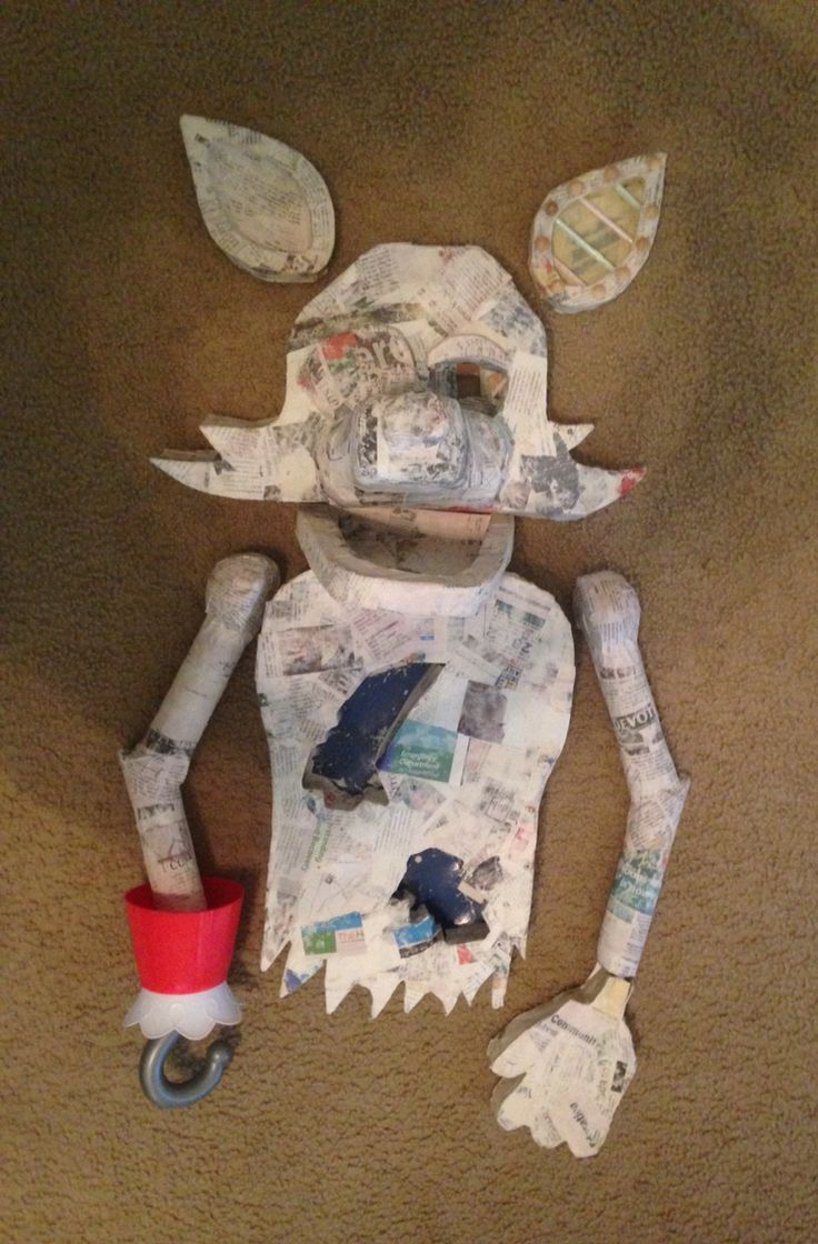 How to make your own five nights at freddys foxy plush - After Covering With Paper Mache Freddy Sinamepaper Machehomemade