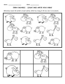 5 counting worksheets featuring cartoon farm animals. Count the number of each animal and write the number in the box next to the picture.