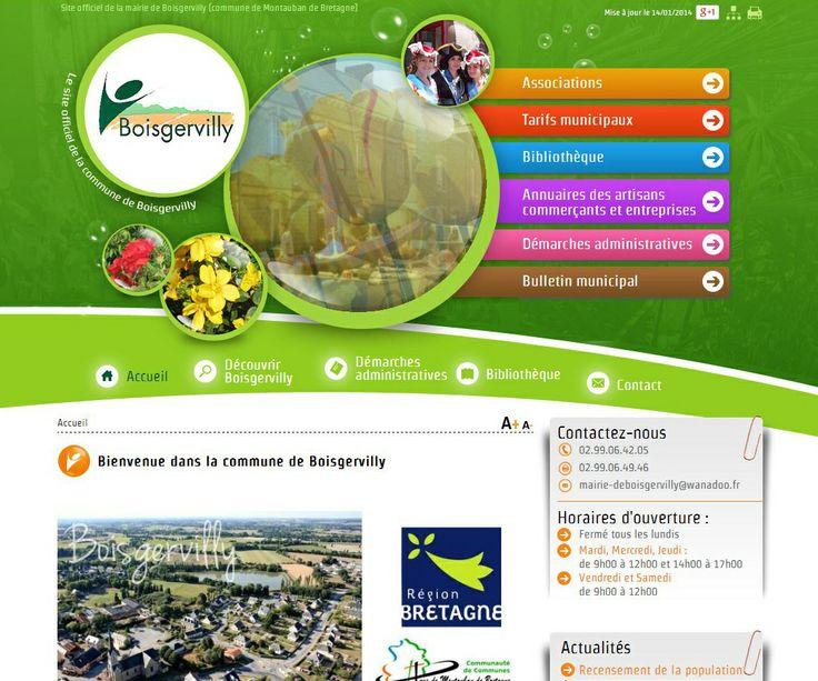 Site internet de la mairie de Boisgervilly en Ille et Vilaine, commune faisant partie de la Communauté de Communes de Montauban-de-Bretagne / Saint-Méen-le-Grand