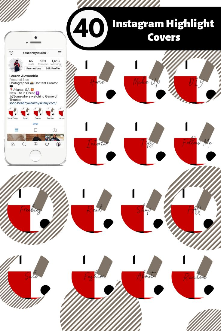 Abstract Red & Black Text Icon Instagram Story Highlight