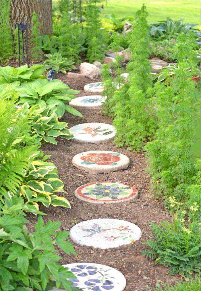 Gartenideen Beton Farbig Gartenweg Gestalten Pflanzen