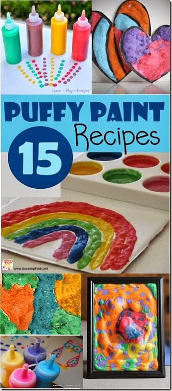 15 Puffy Paint Recipes - So many really creative and unique puffy paint recipes and 40 projects for kids of all ages.