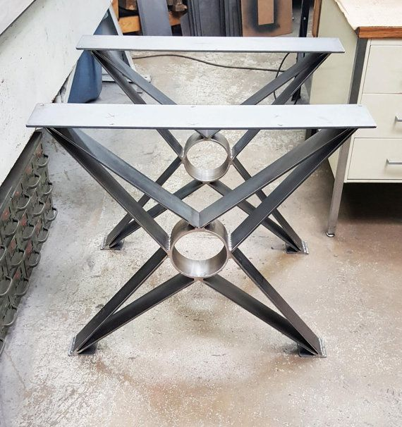 Modern Steel legs. Load up to 1000 lbs. on this set of 2 legs. This listing is for set of 2 Steel Tubing X Legs. - Made from Steel Flat - 1/4 x 3 and 1/4 x 5 Flat bar on top - Legs are predrilled. - Finish - Raw steel, Clear coated, Black flat.