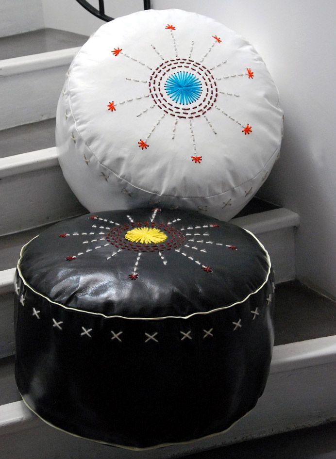 honor d coration fauteuils et tabourets pouf rond en cuir honor decoration annick. Black Bedroom Furniture Sets. Home Design Ideas
