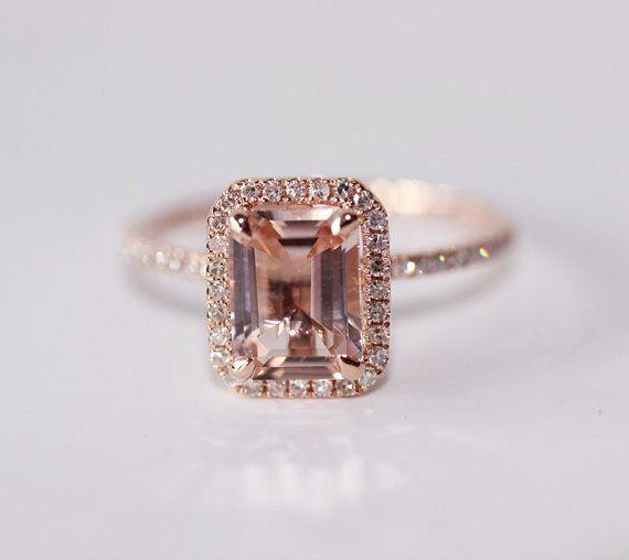 Emerald Cut 14K Rose Gold 7mm VS  Halo Morganite Ring SI/H Diamonds Wedding Ring /Engagement Ring/ Promise Ring/ Anniversary Ring