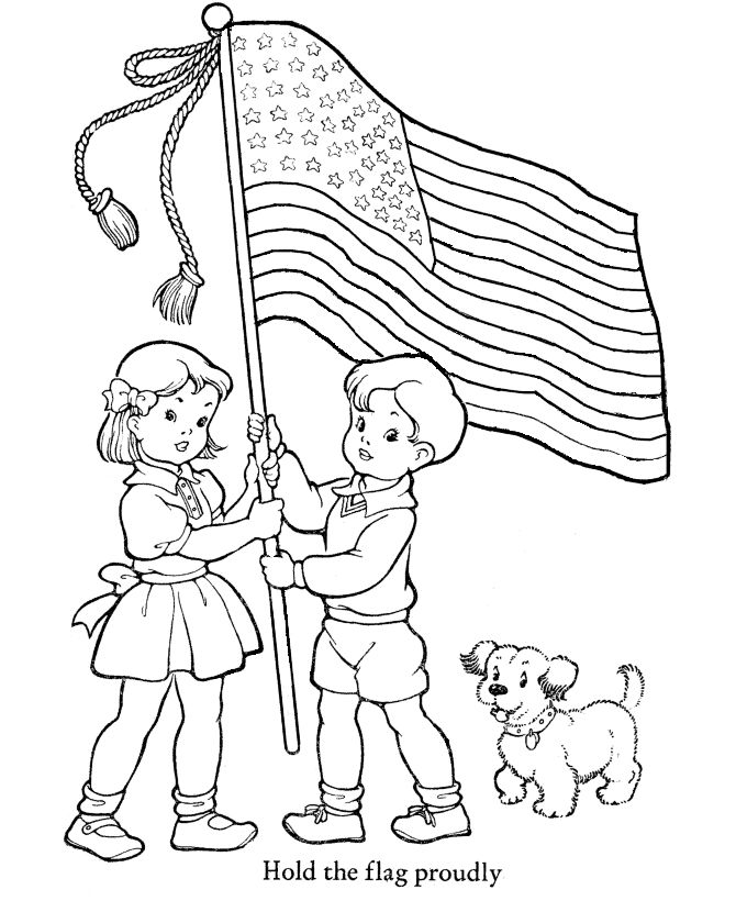Veterans Day Coloring Pages - Hold the flag proudly Coloring Page