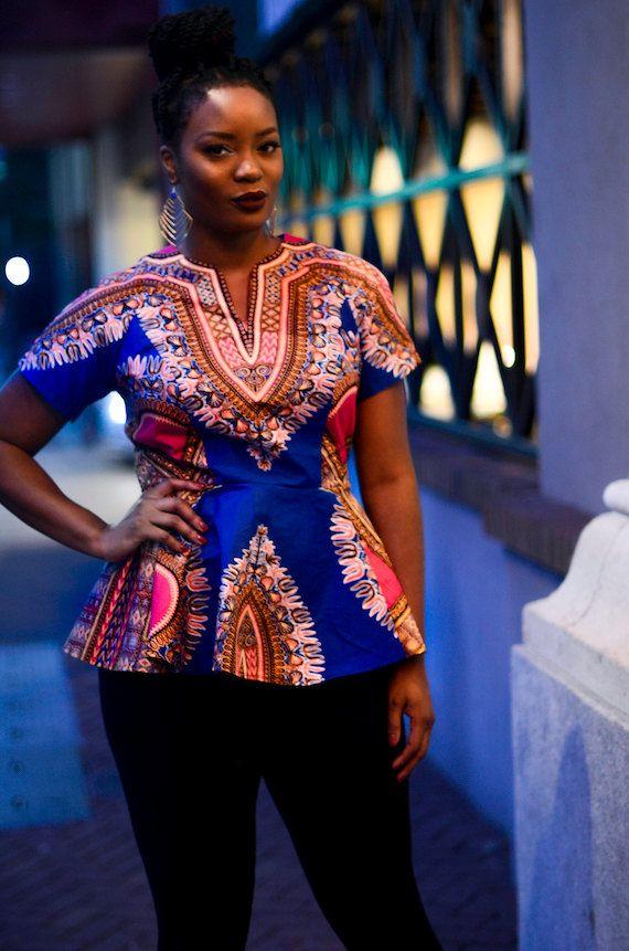 Dashiki peplum top ~African fashion, Ankara, kitenge, African women dresses, African prints, African men's fashion, Nigerian style, Ghanaian fashion ~DKK