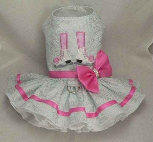 Small dog harness dress. Tutu skirt. Crystal Ice door poshdog, $69.00